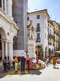 People rest in front of statue of ANdrea Palladio Royalty Free Stock Photos
