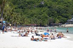People rest on the island of Koh Phangan in Thailand royalty free stock image