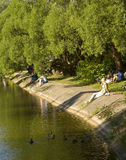 People rest in park Izmaylovo Royalty Free Stock Photo