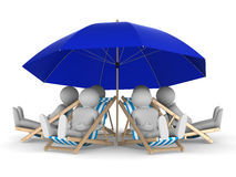 People rest under parasol. Isolated 3D. Image royalty free illustration
