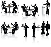 People in Restaurant. People, couples and a waiters in restaurant,  illustration Stock Photos