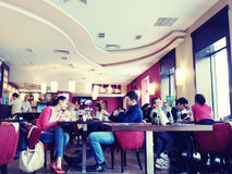 People in a restaurant. People eating in Japanese restaurant Sushi Ko, in Bucharest old center Stock Photo