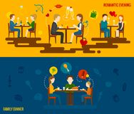 People In Restaurant Banner Royalty Free Stock Photography