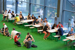 People at the restaurant bar at Sonar Festival Royalty Free Stock Photography