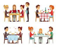 People in restaurant eating dinner vector flat concepts. Family in restaurant, illustration of romantic date in restaurant Royalty Free Stock Photo