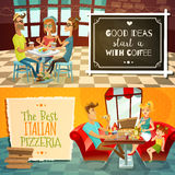 People In Restaurant Horizontal Banners. People in restaurant two horizontal banners with cafe visitors drinking coffee and family with kid in interior of Stock Image
