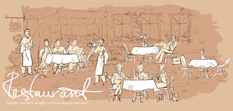 People at restaurant, outdoor cafe - Hand drawn horizontal background. With sample text Royalty Free Stock Photography