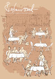 People at restaurant, outdoor cafe - Hand drawn vertical background. With sample text Royalty Free Stock Photos