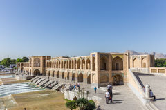 People resting in the ancient Khaju Bridge, (Pol-e Khaju), in Isfahan, Iran Stock Images
