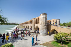 People resting in the ancient Khaju Bridge, (Pol-e Khaju), in Isfahan, Iran stock photos