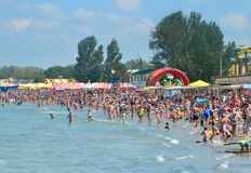 People resting at the beach in Anapa Royalty Free Stock Photo
