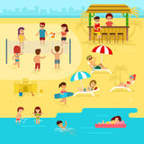 People are resting on the beach, summer vacation by the sea vector flat illustration. Beach infographic elements Royalty Free Stock Image