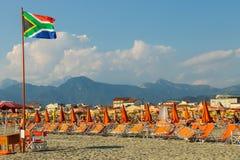 People resting on the beach in Viareggio, Italy Stock Images
