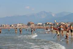 People resting on the beach in Viareggio, Italy Stock Image