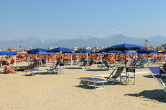 People resting on the beach in Viareggio, Italy Royalty Free Stock Photo