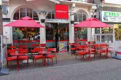 People resting in cafe in the historic centre of Utrecht, the Netherlands Royalty Free Stock Image