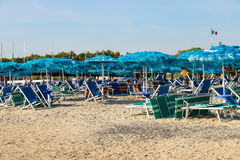 People resting on the coast of the Ligurian Sea. Vada, Italy Royalty Free Stock Images
