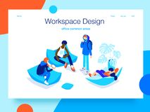 People resting and communicating in a common area. Open workspace and coworking. Landing page concept.3D isometric. People resting and communicating in a common royalty free illustration
