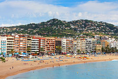 People are resting in european village Lloret de M royalty free stock photography
