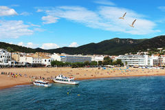 People are resting in european village Tossa de Mar Royalty Free Stock Image