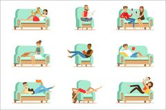 People Resting At Home Relaxing On Sofa Or Armchair Having Lazy Free Time And Rest Seris Of Illustrations vector illustration