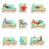 People Resting At Home Relaxing On Sofa Or Armchair Having Lazy Free Time And Rest Set Of Illustrations Royalty Free Stock Photography