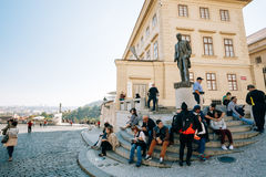 People resting near Tomas Garrigue Masaryk statue Royalty Free Stock Image