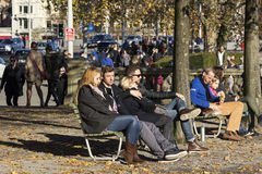 People resting in a park in Zurich Royalty Free Stock Images