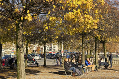 People resting in a park in Zurich Stock Photo