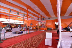 People resting at stop during Kanvar Yatra or Kavad Yatra (Hindi Words), it is annual pilgrimage of  devotees of Shiva Stock Images