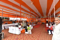 People resting at stop during Kanvar Yatra or Kavad Yatra (Hindi Words), it is annual pilgrimage of  devotees of Shiva Stock Photo