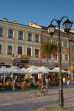 People resting in the street cafe in Rzeszow, Poland Royalty Free Stock Images