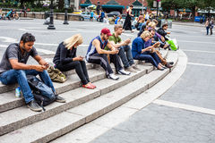 People resting at Union Square New York. City Royalty Free Stock Images