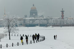 People resting in winter St. Petersburg, Russia Royalty Free Stock Image