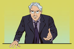 People in retro style. Angry gray-haired man. The boss is furious. stock illustration