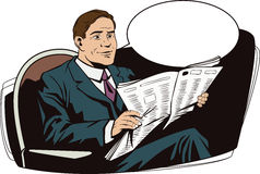 People in retro style. Businessman reads newspaper. Royalty Free Stock Photo