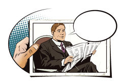 People in retro style. Businessman reads newspaper. Royalty Free Stock Images