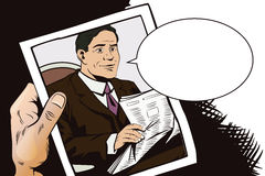 People in retro style. Businessman reads newspaper. Stock Photos