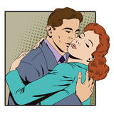 People in retro style. Embraces of a loving couple Royalty Free Stock Photos