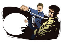 People in retro style. Fight of two men. Stock Photo