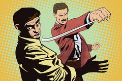 People in retro style. Fight of two men. Stock Photography