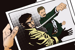 People in retro style. Fight of two men. Stock illustration. People in retro style pop art and vintage advertising. Fight of two men. Hand with photo Royalty Free Stock Photography