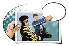 People in retro style. Fight of two men. Stock illustration. People in retro style pop art and vintage advertising. Fight of two men. Hand with photo Stock Images