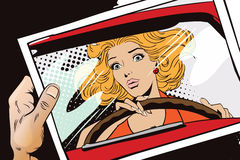 People in retro style. Frightened woman driving a car. Stock Image
