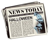 People in retro style. Ghost Halloween. Stock illustration. People in retro style pop art and vintage advertising. Ghost Halloween. Newspaper article Royalty Free Stock Image