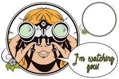 People in retro style. Girl with binoculars. Stock Images