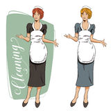 People in retro style. The girl from the cleaning service. Royalty Free Stock Photos