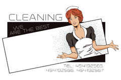 People in retro style. The girl from the cleaning service. Templ Stock Photo