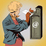 People in retro style. Girl puts letter into mailbox. Royalty Free Stock Image