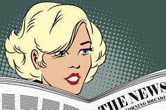 People in retro style. Girl reading the newspaper. stock illustration